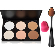 Start Makers ® Makeup Contouring kit-6 Colour Contour Powder Kit- Highlighting Contouring Bronzing Palette - Concealer Makeup Palette Kit - Oval Toothbrush Curve Contour Brushes- Mini Makeup Sponge
