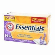 Arm & Hammer Essentials Fabric Softener Sheets, Lavender & Linen, 144 ea - 2pc