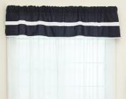 Baby Doll Bedding Solid Stripe Window Valance, Navy/White