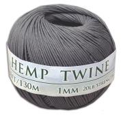 130m of 1mm 100% Hemp Twine Bead Cord in Grey