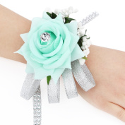 Engerla Ribbon Hand Flower Bracelet Wedding Wrist Corsage with Rhinestone