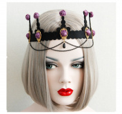 primerry Halloween party Cosplay costume party supplies Baroque Purple Rose tassels headband