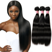 Fabeauty 7A (12 12 14) Unprocessed Peruvian Straight Hair 3 Bundles, 8-70cm Available Mixed Length, 100% Virgin Silky Human Hair Extensions Natural Black