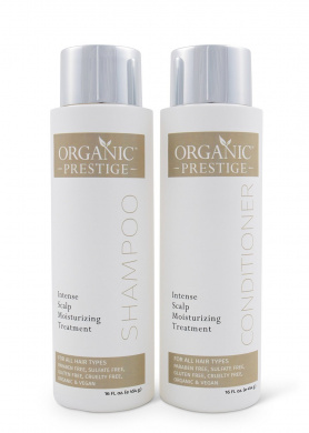 Luxury Shampoo and Conditioner SET (470ml) - Natural, Organic Dandruff, Moisturising, Volume, Psoriasis, Hair Loss, Detangler, Split Ends, Itchy Scalp, Sulphate Free, Paraben Free by Organic Prestige