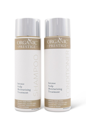 Luxury Shampoo and Conditioner SET (240ml) - Natural, Organic Dandruff, Moisturising, Volume, Psoriasis, Hair Loss, Detangler, Split Ends, Itchy Scalp, Sulphate Free, Paraben Free by Organic Prestige