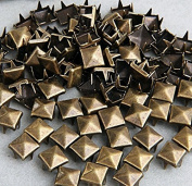 Vikeva 100 Brass 8mm Pyramid Studs Spots Punk Nailheads Spikes for Bag Shoes Bracelet