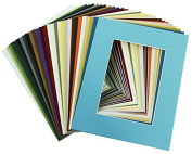 Mat Board Centre, 8x10 Picture Mat Sets for 5x7 Photo. Includes a Pack of 50 White Core Bevel Pre-cut White Core Matte & 50 Backing Board & 50 Clear Bags