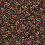 Andover-Makower 'Poinsettia' Folk Art Red on Black Christmas Cotton Fabric 44-110cm Wide