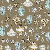 Andover-Makower 'Balmoral' Scottish Glass Christmas Ornaments on Brown Cotton Fabric 44-110cm Wide