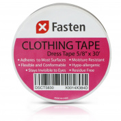 XFasten Double Sided Clothing Tape, White, 1.6cm x 9.1m Hypo-allergenic Fashion Tape