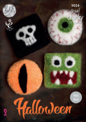 King Cole Tinsel Chunky Knitting Pattern Halloween Cushions - Eyeball Skull Cat Eye & Monster