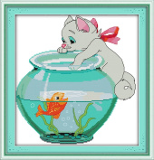 CaptainCrafts Hot New Releases Cross Stitch Kits Patterns Embroidery Kit - Cat Aside Fish Jar