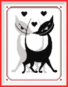 CaptainCrafts Hot New Releases Cross Stitch Kits Patterns Embroidery Kit - Black White Lover Cats