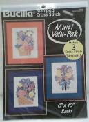 Floral Arrangement Sampler Kit 64187 Bucilla Stamped Cross Stitch, ~ Multi Valu-Pak Makes 3 Samplers