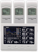 Ambient Weather WS-3000-X3 Thermo-Hygrometer Wireless Monitor with 3 Remote Sensors
