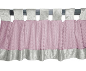 Baby Doll Bedding Croco Minky Window Valance, Ivory/Pink