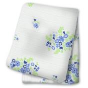 lulujo Baby Cotton Muslin Swaddling Blanket, Floral Blue