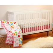 Little Bedding by Nojo Reversible Sweet Tweet/Pink Chevron Print 3-Piece Crib Bedding Set Cute And Colourful Coordinated