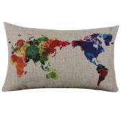 Fullkang Burlap Linen World Map Decorative Cushion Cover Pillow Case