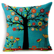 Fullkang Tree Print Linen Square Throw Flax Pillow Case Decorative Pillow Cover