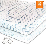 Pack N Play Playard Sheet Set - 2 Pack Jersey Cotton Fitted Sheets for Mini/Portable Crib Mattress by Mom's Besty™ - Unisex Grey Chevron