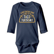 Infant Live Every Day Like It's Taco Tuesday Cute Baby Onesie Bodysuit