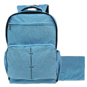Damero Travel Nappy Backpack Baby Nappy Bag with Large Changing Pad, Light Blue