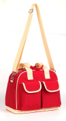 LCY Larger Capacity Multifunction Nappy Bag Tote Messenger Bag - Red/Apricot