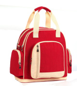 LCY Larger Capacity Multifunction Nappy Bag Tote Messenger Backpack - Red/Apricot