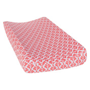 Trend Lab Shell Floral Changing Pad Cover, Coral/White