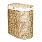 Tightly Hand-Woven Water Hyacinth, Classics Water Hyacinth Oval Double Hamper, Natural