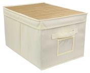 Home Basics Natural Cotton Canvas Bamboo Storage Box Bin