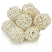 10PCS Cream White Wicker Rattan Ball Wedding Festival Christmas Hanging Party Decoration Nursery Mobiles