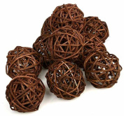 10PCS Coffee Brown Wicker Rattan Ball Wedding Christmas Ornament Garden Nursery Mobiles Decoration