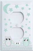 Grey and Seafoam Green Owl Light Switch Plate Covers and Outlet Covers / Owl Nursery Decor