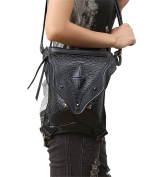Curry Girl Womens Mens Black Leather Steampunk Cross Body Waist Packs Bags