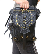 Curry Girl Womens Mens Black Leather Steampunk Shoulder Waist Packs Bags