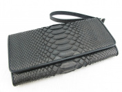 PELGIO Genuine Python Snake Skin Leather Women's Wrist Clutch Wallet Purse Black