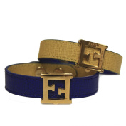 Fendi FF 'Crayons' Reversible Signature Yellow & Blue Saffian Leather Bracelet 8AG408 W7K F0V8T