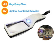 MagniPros Ultra Bright 5X Portable Magnifier- Multifunctional Portable LED Magnifying Glass & UV Light for Counterfeit Detection, Reading, Coins, Low Vision