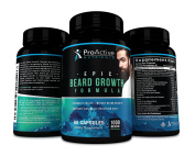 Epic Beard Growth Formula-by ProActive Nutrients. All Natural Thicker and Fuller Beard & Hair Grow Support for Men with 5000 mcg of Biotin & Vitamins for Full, Thick, Fast Growing Formula. Made In USA