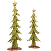 National Tree Set of 2 Metal Green Trees with Gold Top Star