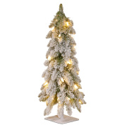 National Tree 60cm Snowy Downswept Forestree with 50 Clear Lights with a Metal Plate