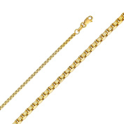 14K Solid Gold 1.8mm Flat Box Chain Lobster Clasp