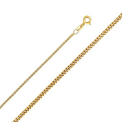 14K Solid Gold 1.3mm Light Curb Chain Spring Clasp