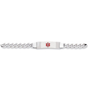.925 Sterling Silver 9.00MM Red Enamel Medical Alert ID Curb Link Bracelet 7.00 and 8.00 Inches