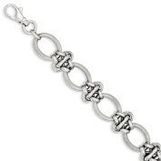 Sterling Silver Polished Textured Fancy Link Bracelet With Lobster Clasp Length 20cm