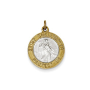 Sterling Silver & Gold Plated Satin Round St. Christopher Medal Pendant Length 25mm