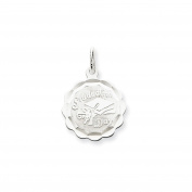 Sterling Silver Engravable Graduation Day Disc Charm Pendant Length 23mm
