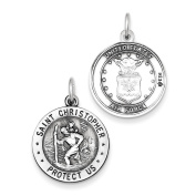 Sterling Silver Antiqued Reversible St.Christopher US Air Force Medal Charm Pendant Length 25mm